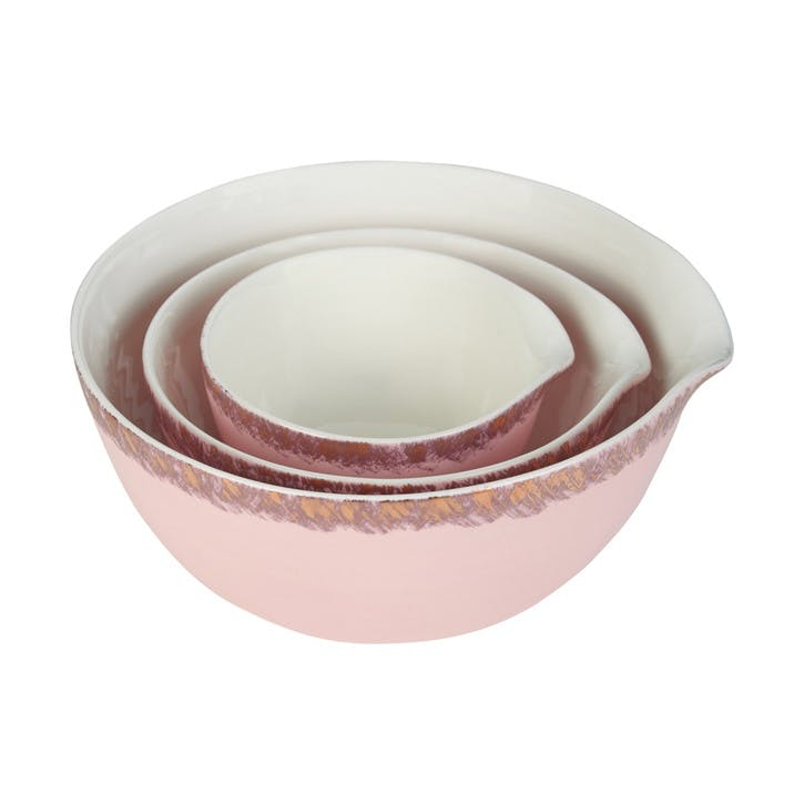 John Whaite Nest of 3 Stacked Bowls; Pink