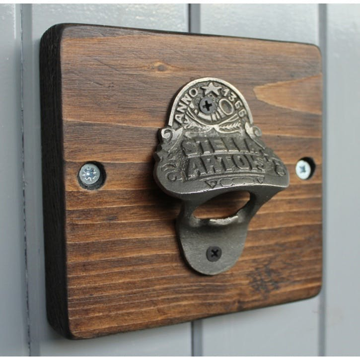 Reclaimed Wooden Beer Bottle Opener - 14 x 14cm; Dark