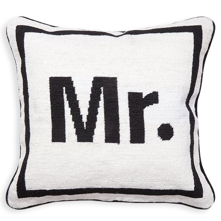 Mr, Needlepoint Cushion, Beige, H41 x D41cm