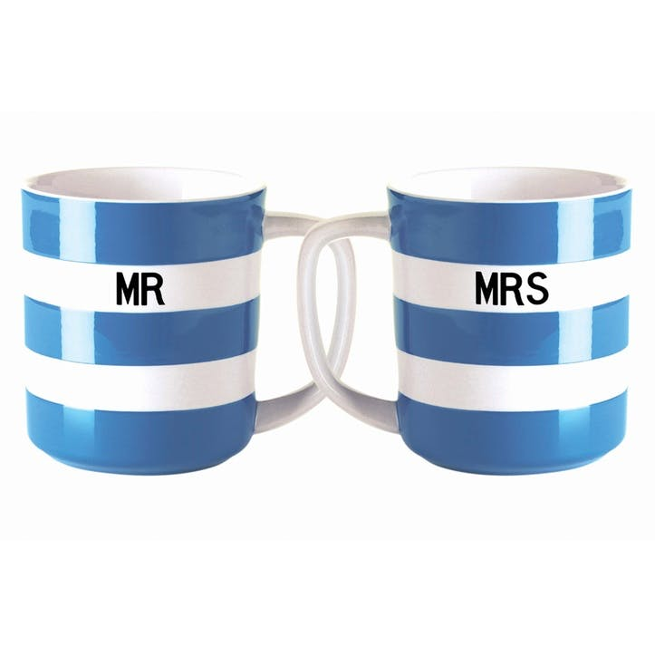 Set of 2 'Mr & Mrs' Mugs, 10oz/28cl, Blue