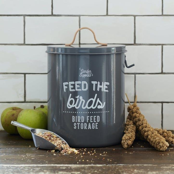 Enamelware Bird Feed Tin, Charcoal