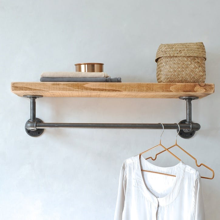 Portobello Industrial Clothes Shelf - 65 x 27cm; Natural