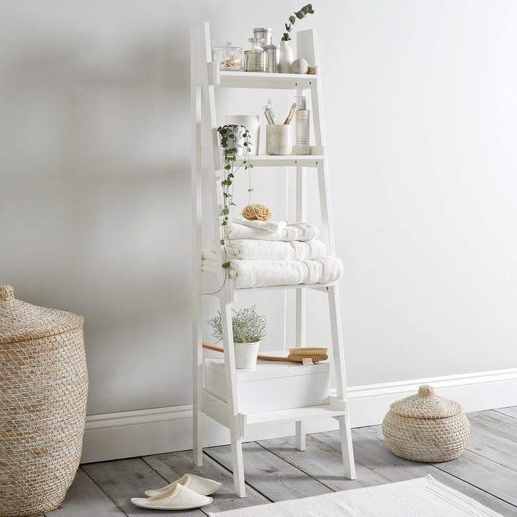 Bathroom Lacquer Ladder Shelf, White