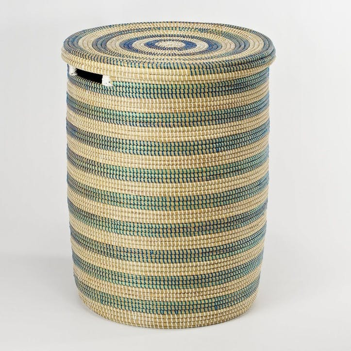 Round Laundry Basket, Medium, Natural/ Blue Stripes