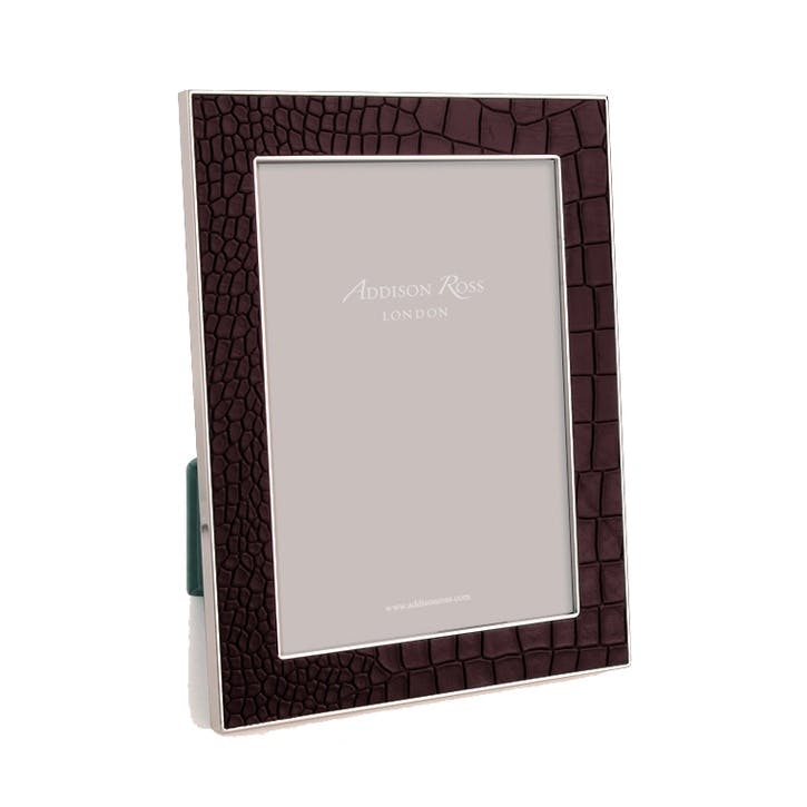 "Silver Plate Faux Croc Photo Frame - 5"" x 7""; Chocolate"