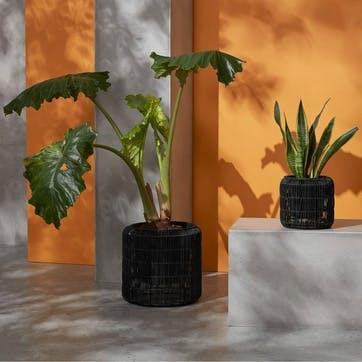 Nadda, Set of 2 Round Planters, Black
