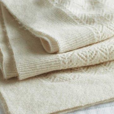 0 Cashmere Christening Blanket, W100 x L75cm, Porcelain