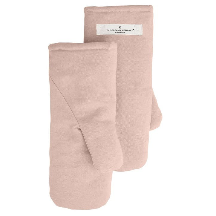 Canvas Oven Mitts, Large, Pale Rose