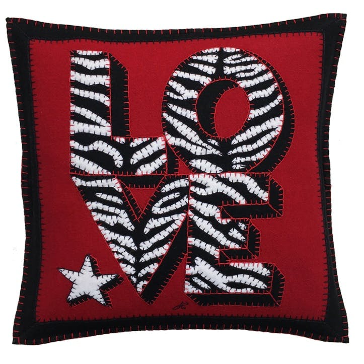 Zebra Love Cushion, 46 x 46cm, Red