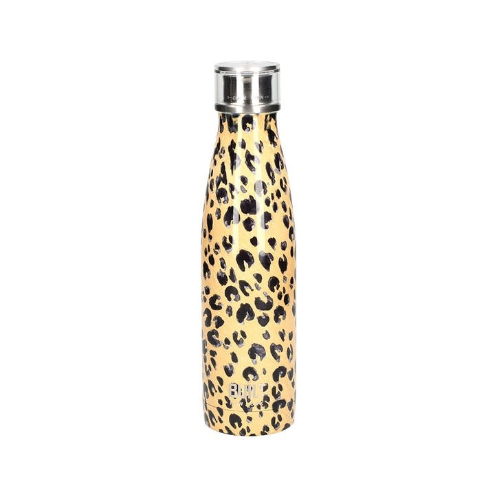 Double Walled Stainless Steel Water Bottle, Leopard Print