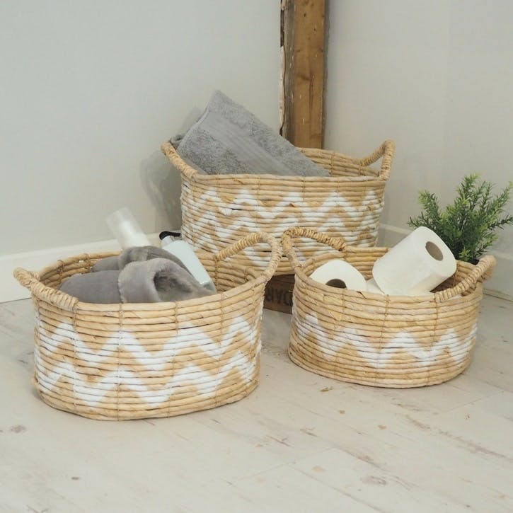 Natural Wicker Baskets - Set of 3