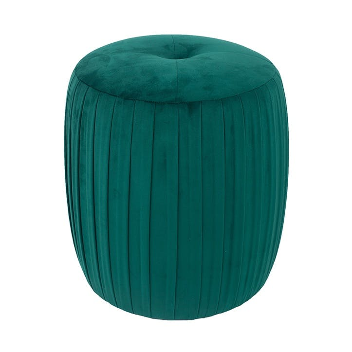 Austen Ruched Pouffe, Forest Green