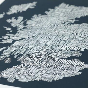 Type Map Screen Print Scotland, 50cm x 70cm, Sheer Slate