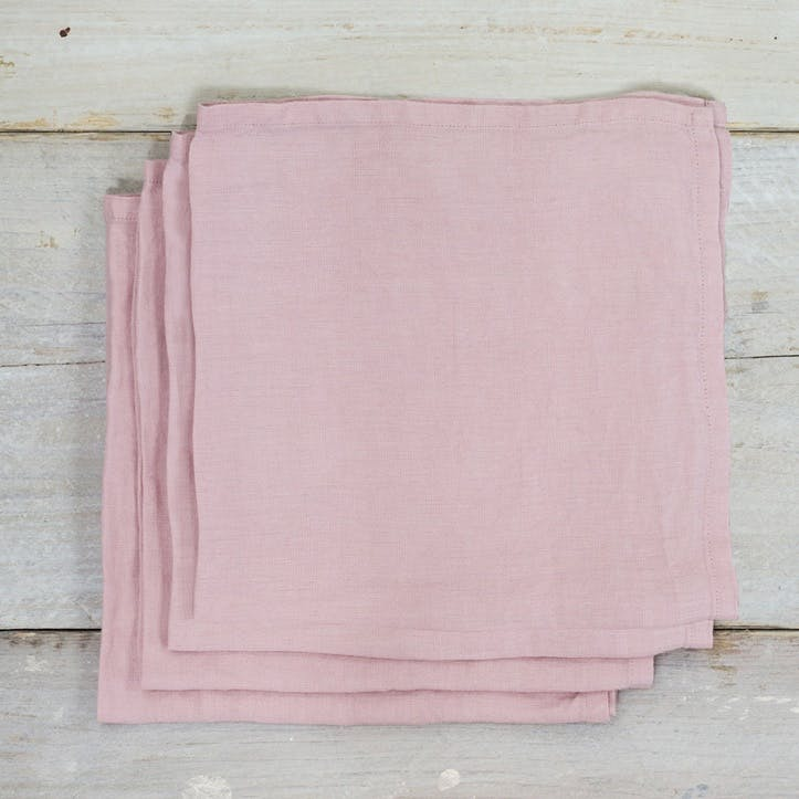 Linen Set Of 4 Napkins - 45 x 45cm; Blush