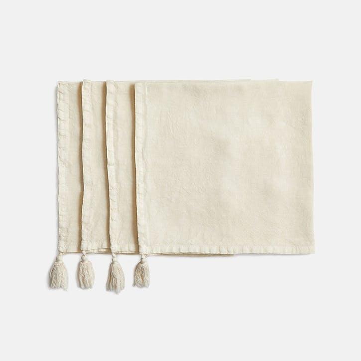 Rosa Linen, Set of 4 Napkins, Parchment