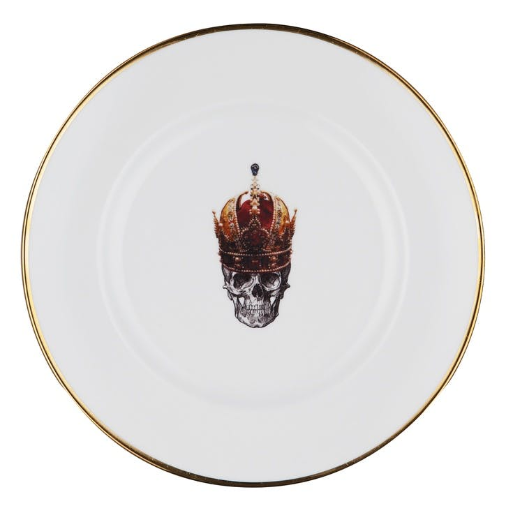 Rock and Roll Skull in Red Crown Dinner Plate