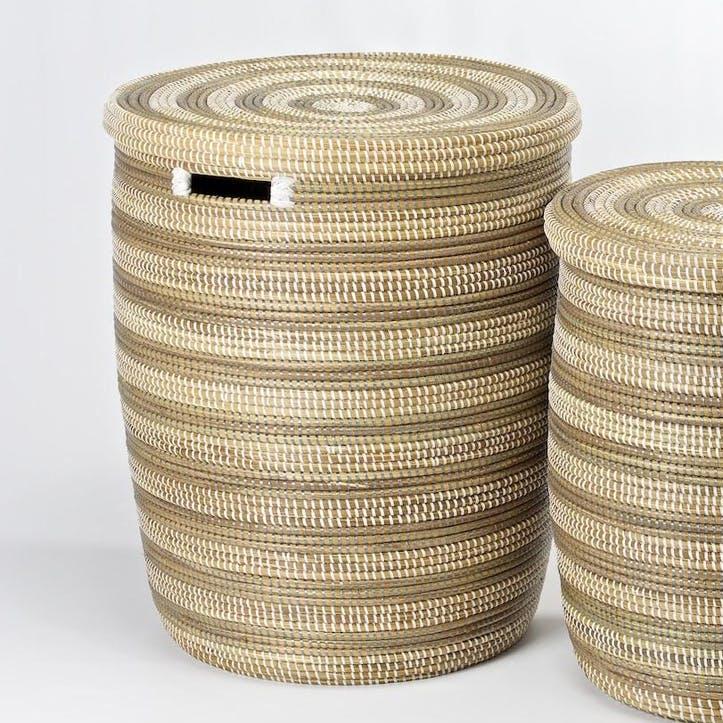 Round Laundry Basket, Large, Natural/ Grey Stripes