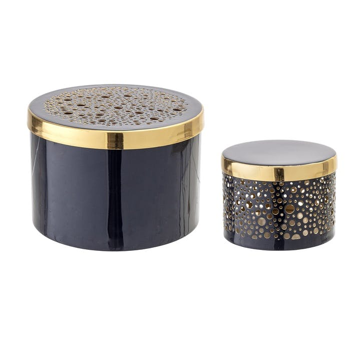 Metal Jars, Set of 2, Blue & Gold