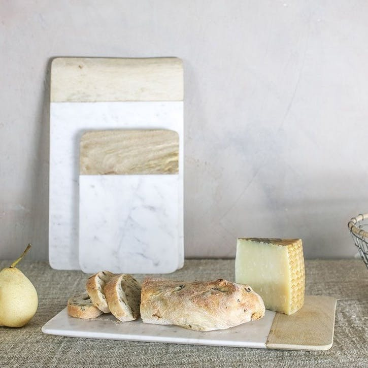Bwari Long Marble Board - Large; White