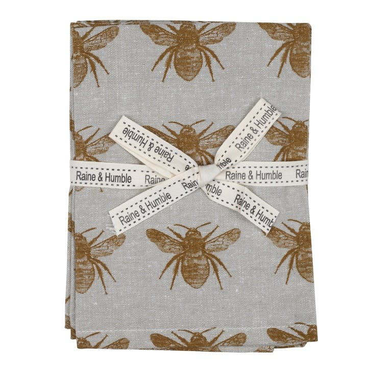 Recycled Honey Bee Napkins, Set of 4, Mustard