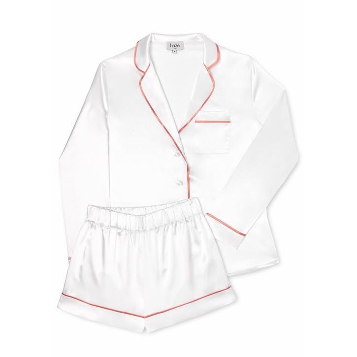 Laze Classic Pyjama Short Set, Large, Rose White