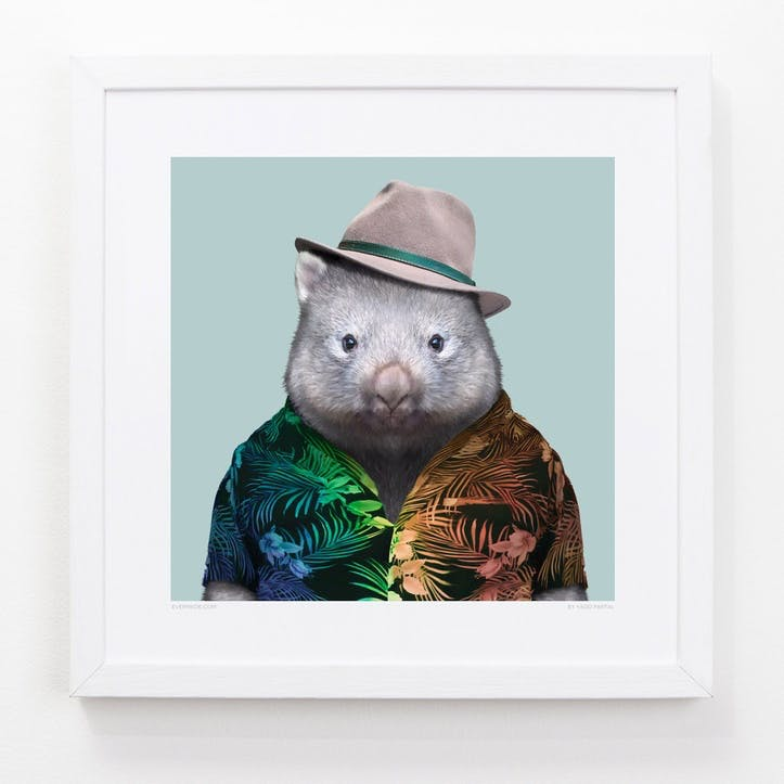 Zoo Portrait Print Wombat, 33cm x 33cm