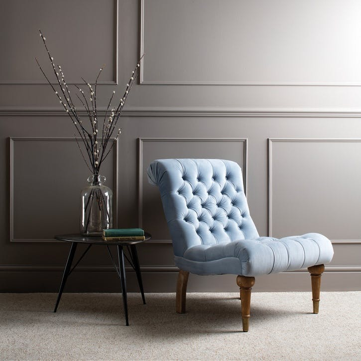 Buttoned Velvet Occasional Chair, Sky Blue