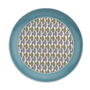 """Westerly Coupe Plate, Set of Four - 8.5""""; Turquoise Band"""