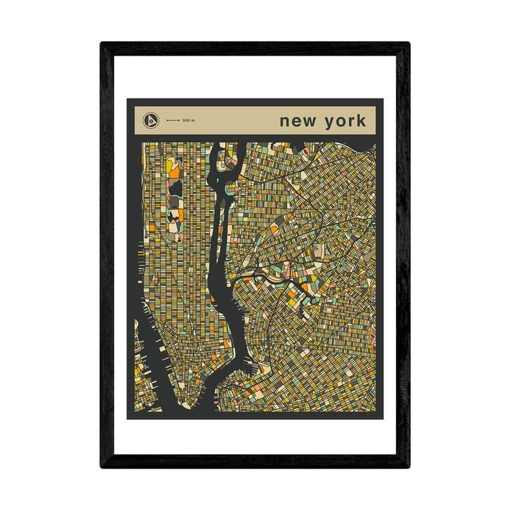 Jazzberry Blue, New York Street Guide, Framed Art Print, H44 x W33 x D2cm, Black