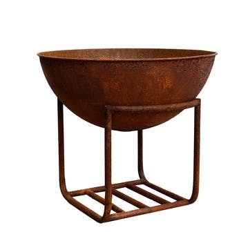Outdoor Cast Iron Firebowl On Stand, W57cm, Rust