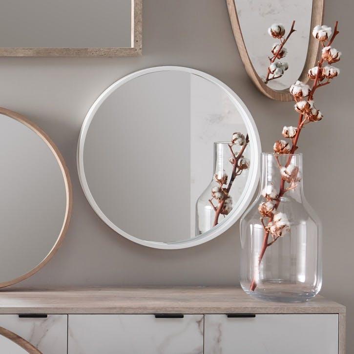 Olsen Round Mirror, Glossy White