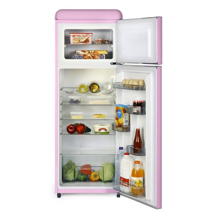 Retro Top-Mounted Fridge Freezer, Pink