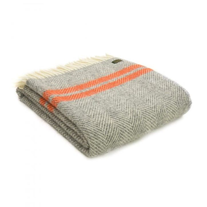Fishbone 2 Stripe Throw; Grey & Pumpkin