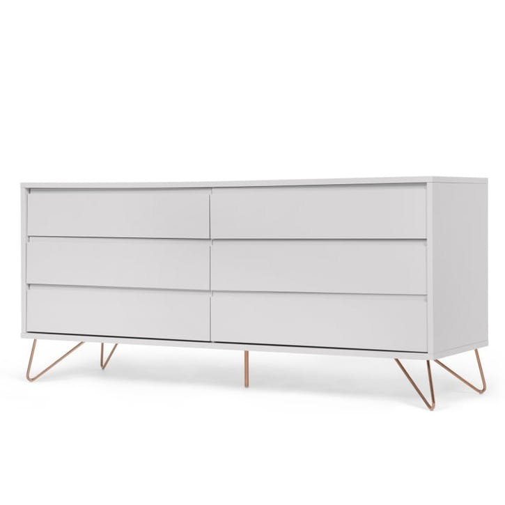 Elona Wide Chest of Drawers; Grey and Copper