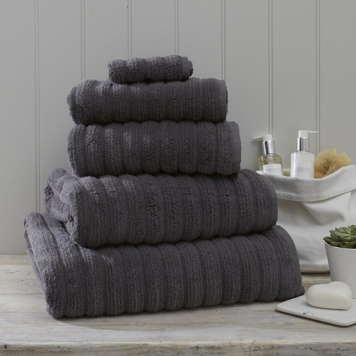 Hydrocotton Ribbed Towel, Face Cloth, Slate