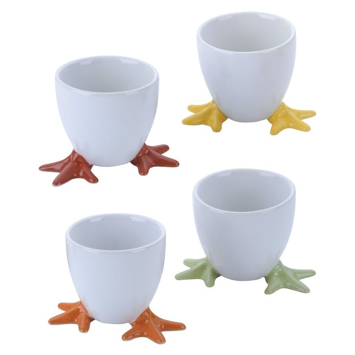 Set of 4 Chicken Feet Egg Cup, Assorted Colours