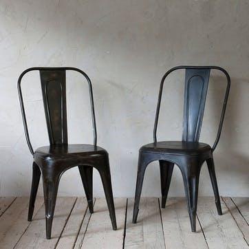 Chari Industrial Chair; Distressed Black