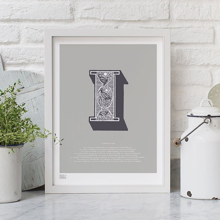 Illustrated Letter I Screen Print, 30cm x 40cm, Putty