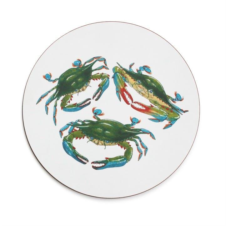 Seaflower Blue Crab Tablemat, 28cm, Blue