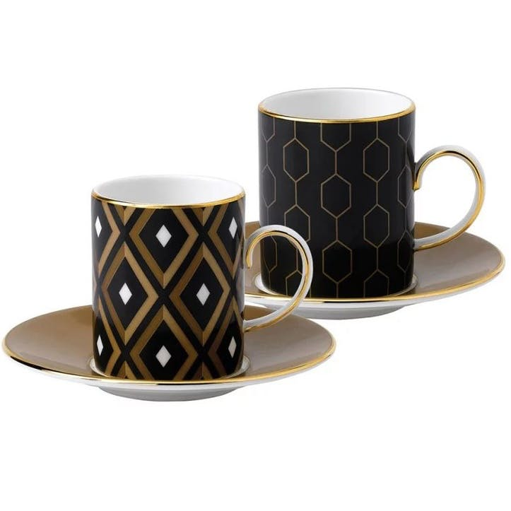 Arris Geometric Honeycomb Espresso Mugs, Set of 2