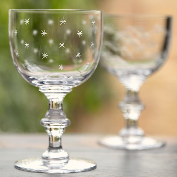 Stars Crystal Wine Goblets, Set of 6