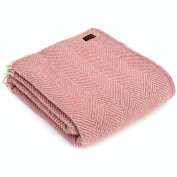 Herringbone Throw; Dusky Pink & Pearl