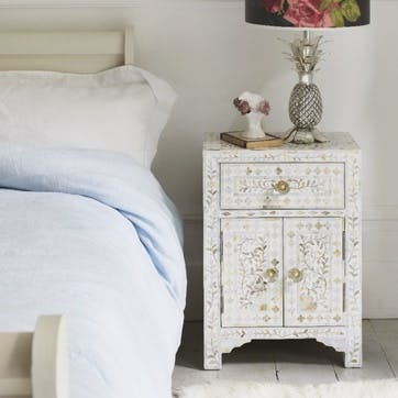 Mother Of Pearl Inlay Side Table In White