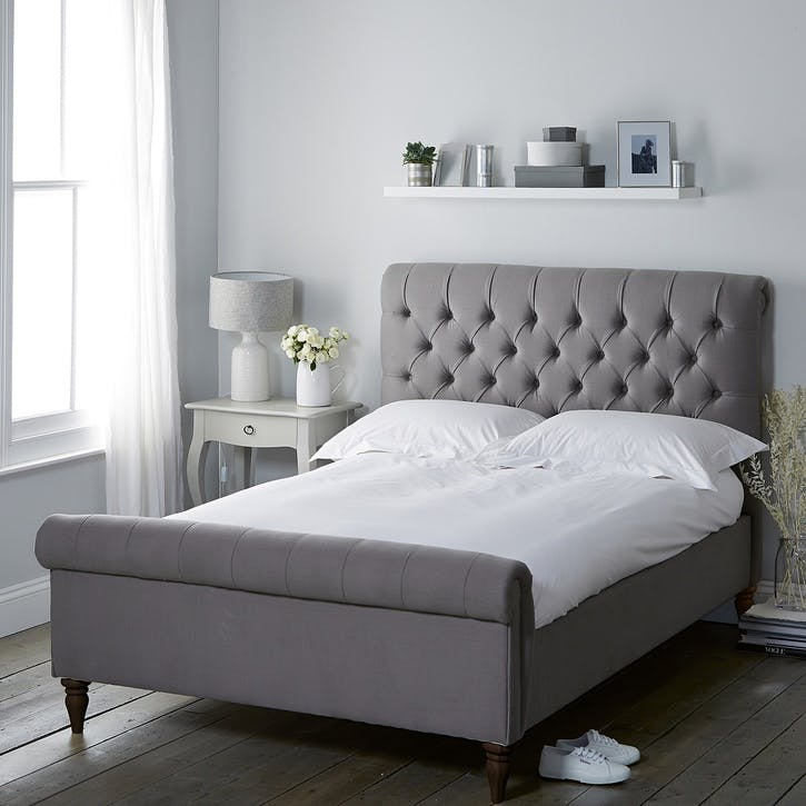 Aldwych Cotton Scroll Bed, King, Grey