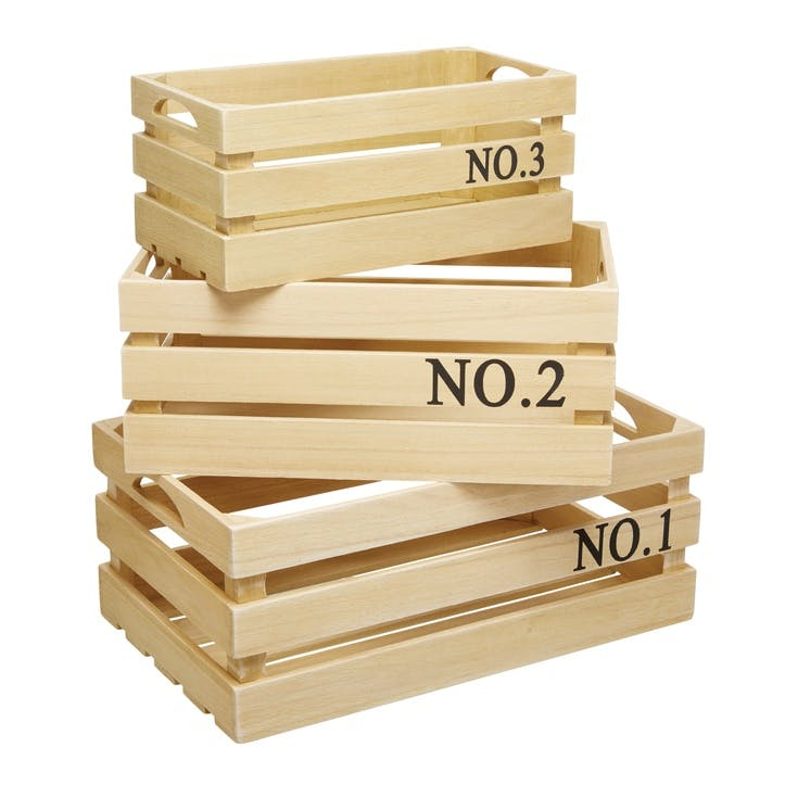 Natural Elements Set of 3 Paulownia Wood Crates