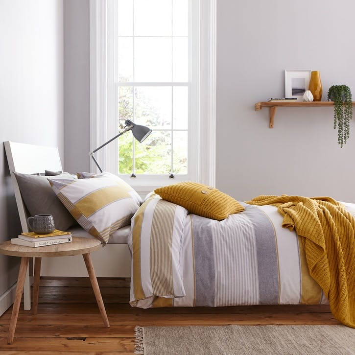 Newquay Stripe King Bedding Set; Ochre