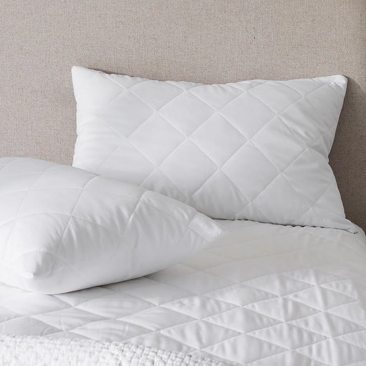 Luxury Pure Cotton Quilted Pillow Protector, Pair, W35 x L58cm