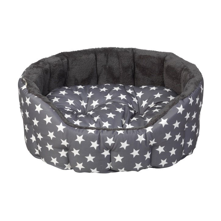 Star Print Reversible Oval Plush Pet Bed, L, Grey