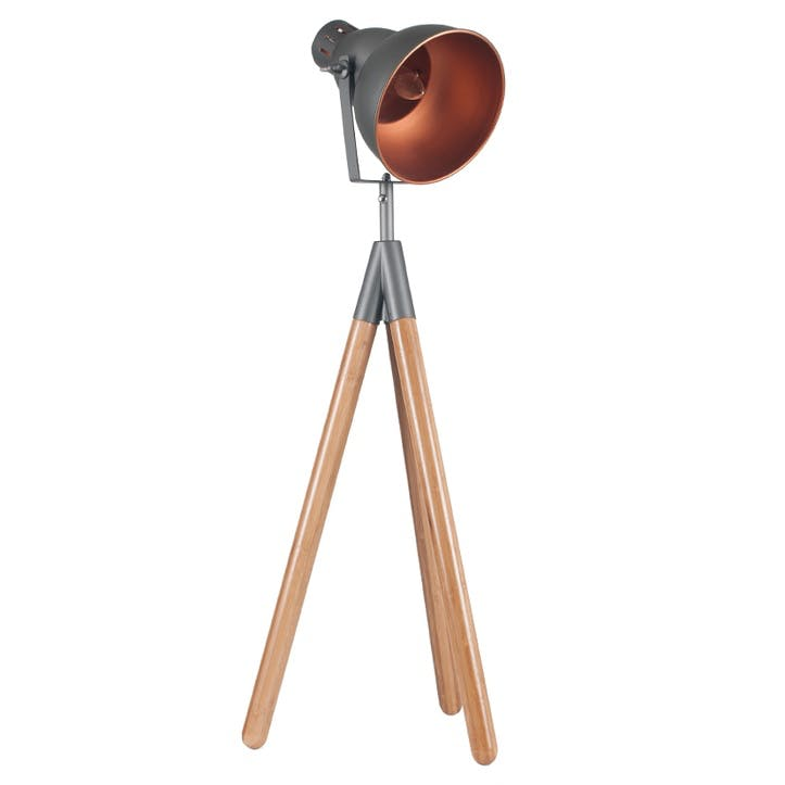 Larkin Tripod Table Lamp; Grey & Copper