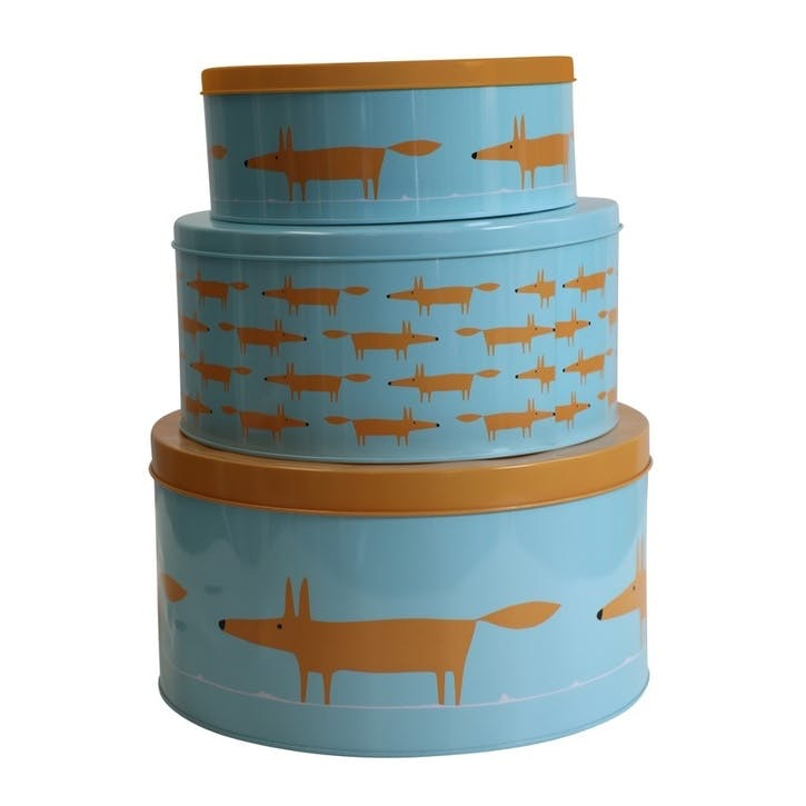 Mr Fox Cake Tins, Set of 3, Blue